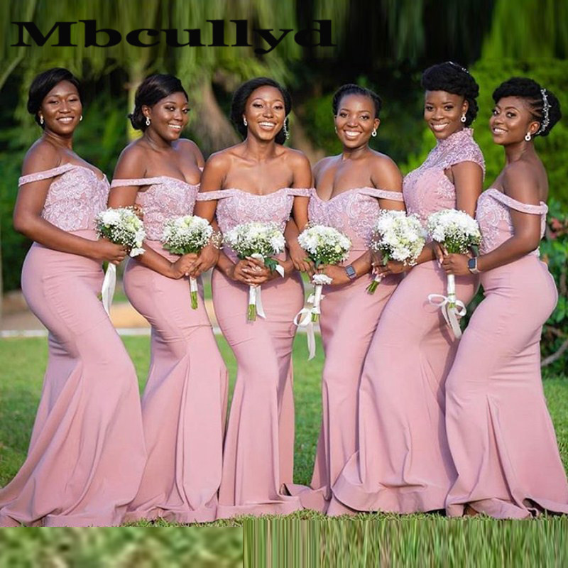 Mbcullyd Pink Mermaid Bridesmaid Dresses With Applique Lace Cheap Off Shoulder Long Wedding Guest Dress African Vestido De Festa