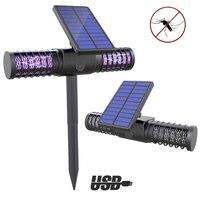 Buitenlamp solaire LED lampe extérieure cour jardin pelouse lumière étanche Anti moustique insecte ravageur Bug Zapper tueur piégeage lumière|Lampes solaires LED| |  -