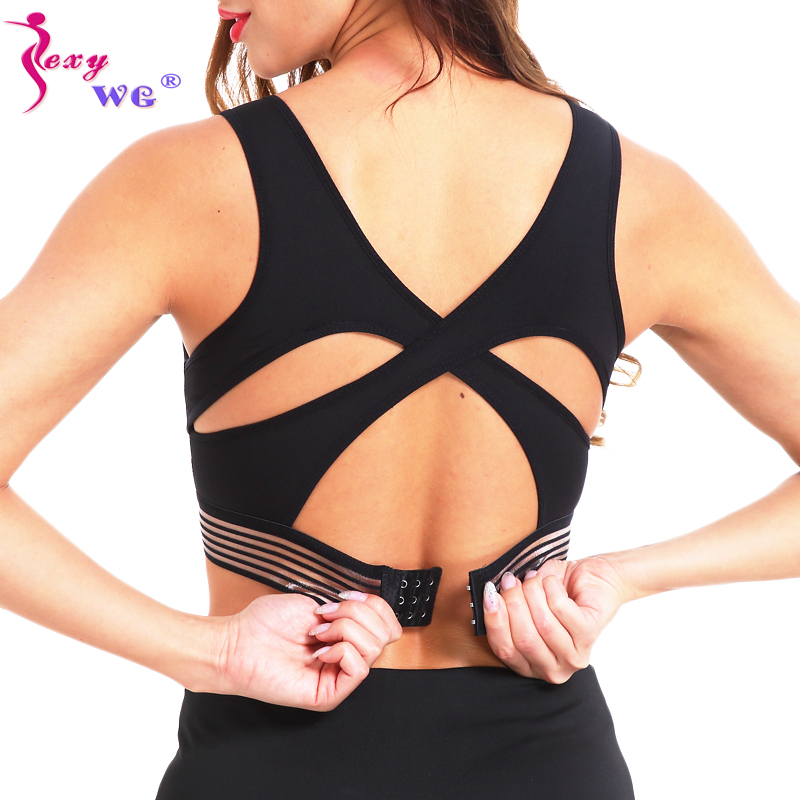 SEXYWG Underwear Sexy Cross Strap Gym Shirt Sports Bra Women Wireless Yoga Bras Fitness Top Padded Push Up Brassiere Activewear