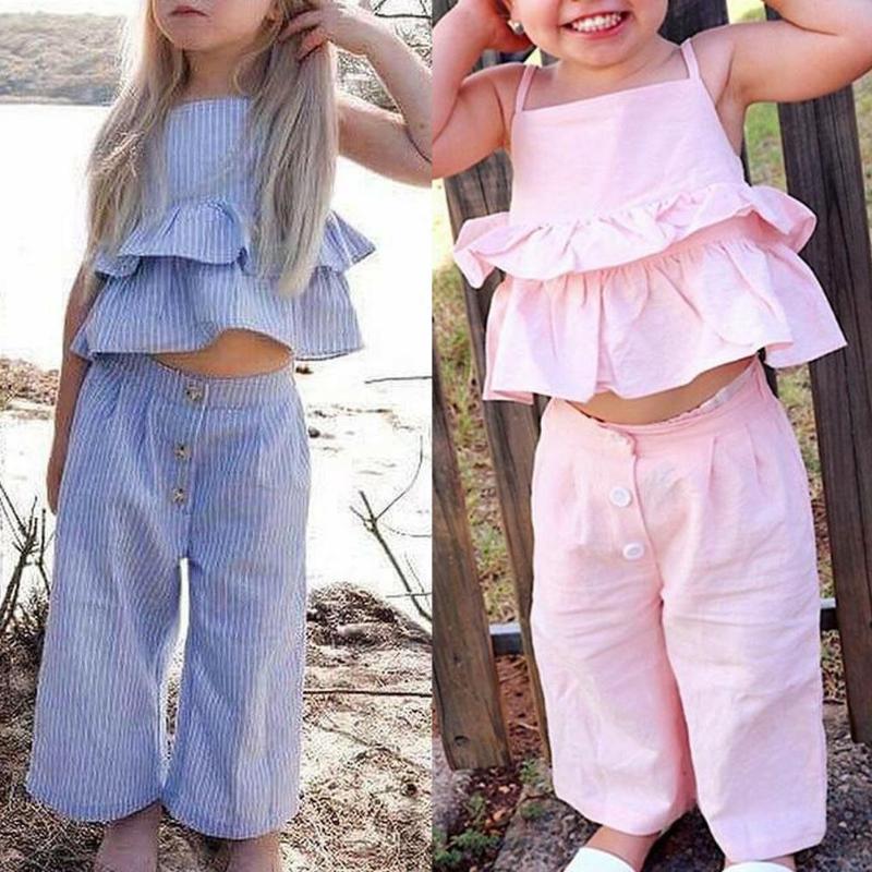 3pcs Casual Kids Girls Clothes Set Solid Ruffled Strap Tops+Pants+Headdress