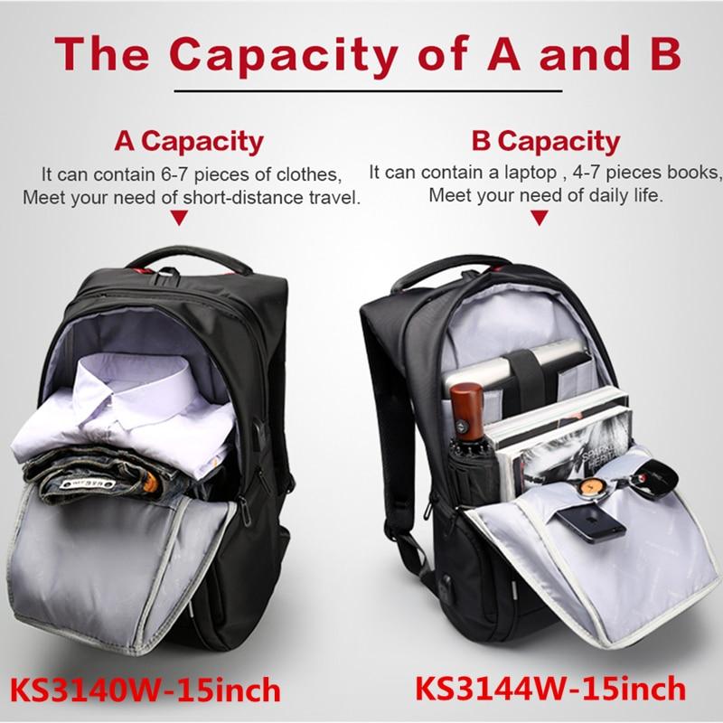 Image 3 - Kingsons Men Women Fashion Backpack 13 15 17 Inch Laptop Backpack 20 35 Litre Waterproof Travel Backpack Student School Bag-in Backpacks from Luggage & Bags