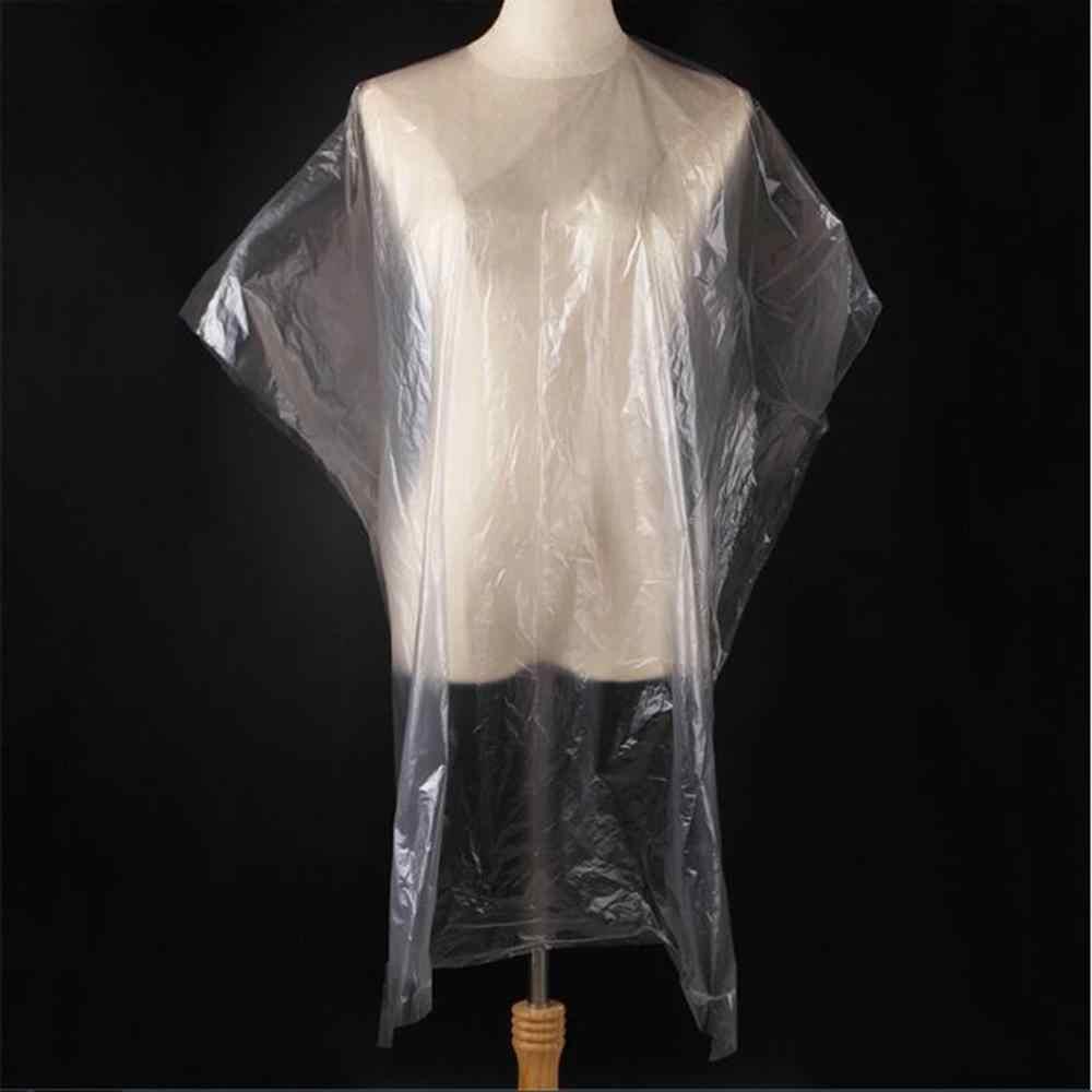Tampas descartáveis de cabeleireiro 50-200 peças, à prova d' água, avental para corte de cabelo, capa, barbeiro, tampas de cabeleireiro transparentes, pano