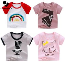 Chivry Summer Kids Boys T Shirt Cute Cartoon Print Short Sleeve Baby Girls T-shirts 100% Cotton Children T-shirt O-neck Tops Tee цена 2017