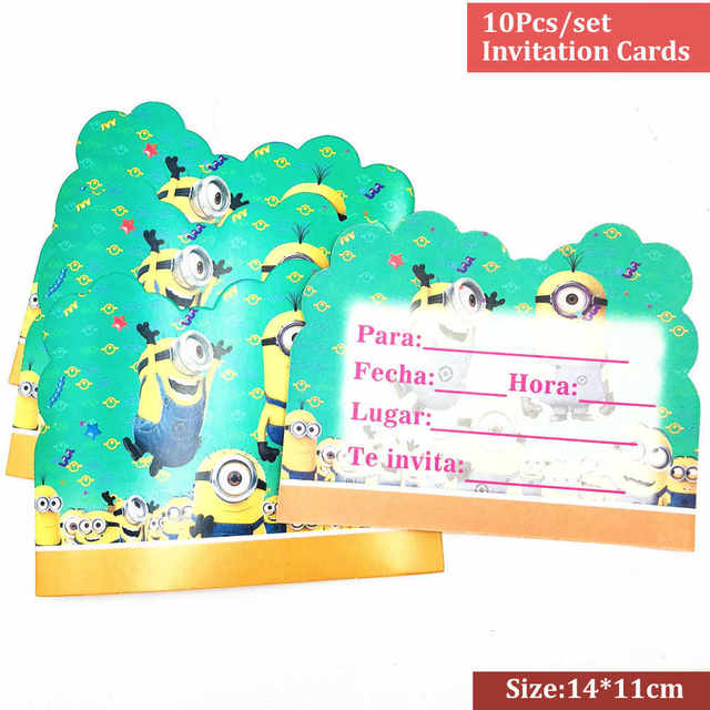 Us 0 4 46 Off Minions 10pcs Lot Cartoon Party Supplies Minions Invitation Card Children S Birthday Party Decorations Kids Festival For Boys In Cards