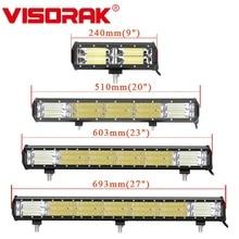 VISORAK 9 21 23 27 Cal potrójny rząd Combo latarka podłużna LED do pracy w terenie 4x4 4WD SUV ATV listwa LED do ciężarówki SUV ATV ciągnik terenowy
