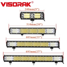 VISORAK 9 21 23 27 Inch Triple Row Combo Offroad LED Work Light Bar 4x4 4WD SUV ATV LED Bar For Truck SUV ATV Off road Tractor