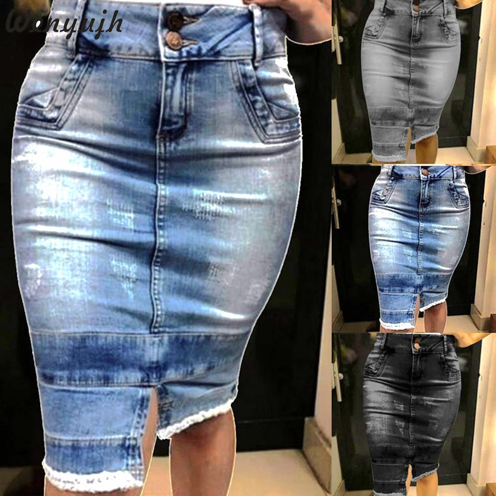 Wenyujh Women's Casual Denim Midi Skirt Button Autumn Bodycon High Waist Jeans Skirt Knee-Length Lady Blue Pencil Solid Skirt