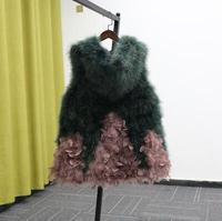 Elegant Real ostrich hair Fur Coat Thicken Warm Outwear Women Winter New Fur Jacket Coat Medium length hoodie Fur Coat TB3580
