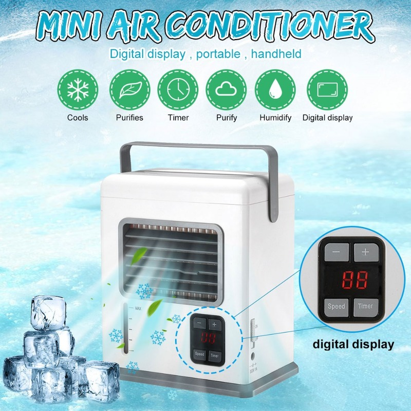 Rechargeable Portable Handheld Air Conditioner Conditioning USB Mini Air Cooler Digital Display Air Cooling Fan For Office Home