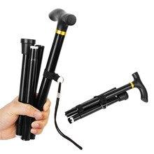 Portable Adjustable Aluminum Metal Walking Stick Folding Collapsible Travel Cane Black Trekking Cane Hiking Trekking Poles