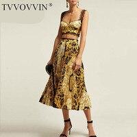 TVVOVVIN 2019 New Summer Fashion Women Clothes Wrap Edges Bra Short Tank And High Waist Printed Long Skirt Set Holiday SET C082