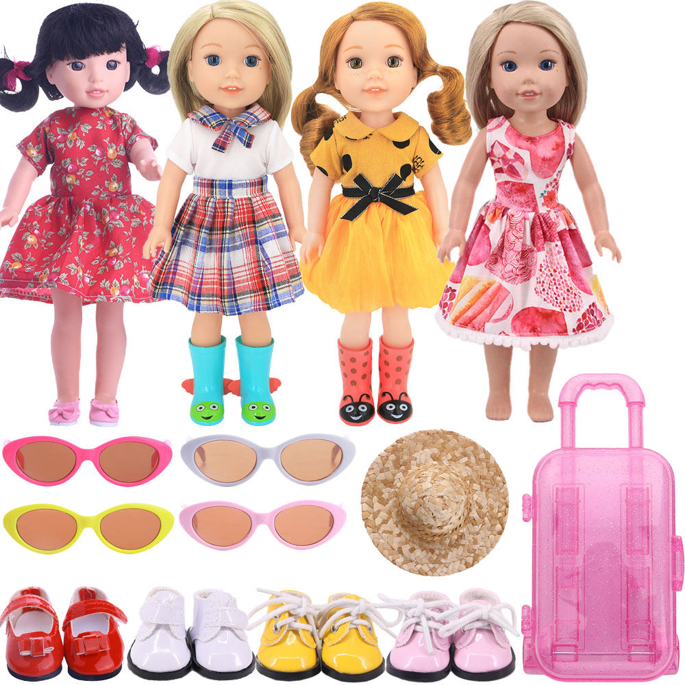 4Pcs/Sit Same Color Doll Accessories For 14.5 Inch Wellie Wisher & 32-34 Cm Paola Reina Doll,Doll Clothes Glasses Shoes Suitcase
