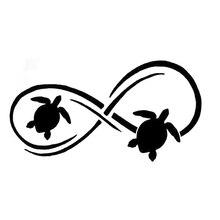 Креативные стикеры в виде морской черепахи и бесконечности, 17,8 см * 9,4 см, стикеры для стайлинга автомобиля, черные/Серебристые N1399