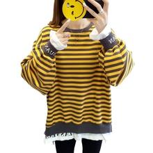 hoodies women harajuku cotton stripe Fake two pieces oversize sweatshirt plus size tops