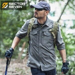 Image 3 - Setor sete 2020 nova camisa tática dos homens camisa militar combate camisa masculina secagem rápida respirável elasticidade casual manga longa