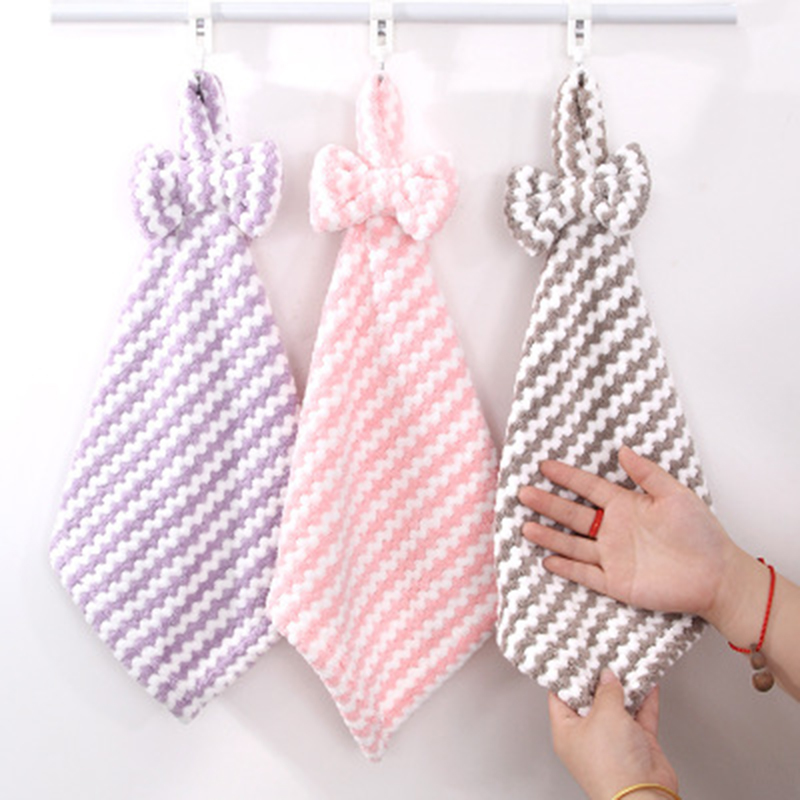 Bathroom Use Kitchen Cleaning Rag Hand Towel Hanging  Towel Microfiber Towels