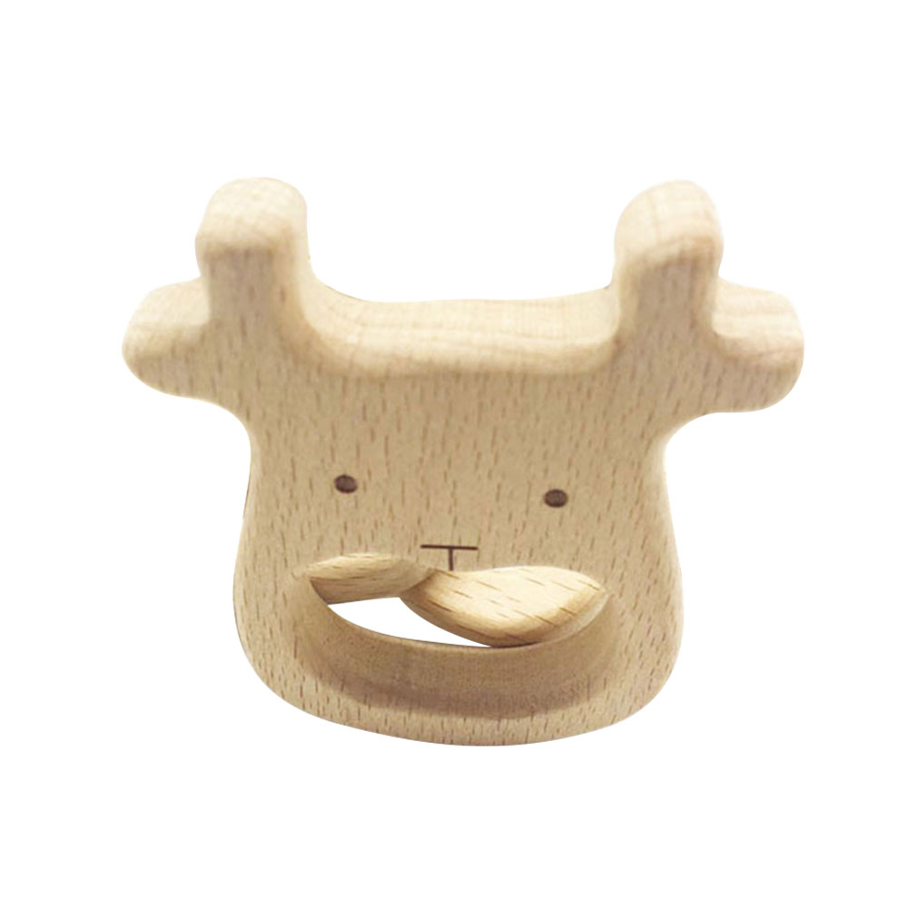 Ephex Eco-Friendly Cartoon Teeth Development Chewing Toy Cute Wooden Infants Baby Teether Safe Gifts Kids Supply