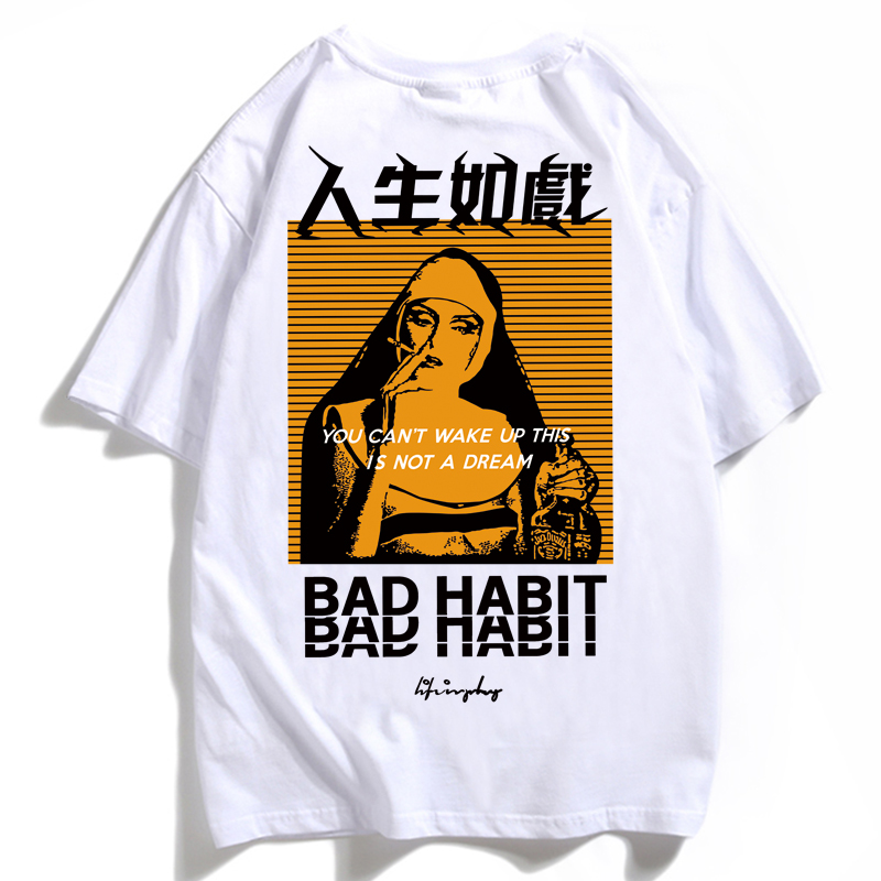 Men T Shirt O-Neck Hip Hop Streetwear Smoking Picture Bad Habit Letter Print Tees Casual Summer Short Sleeve Cotton T-shirts XXX