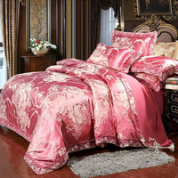 Quality Bedding Set 4Pcs Coverings Luxury Wide Side Duvet Cover Wedding Sets Satin Jacquard Line Comforters For Queen Size Bed