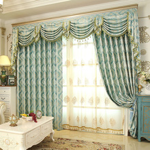European Style Luxury Curtains Blackout Windows Treatment Curtains for Living Room Bedroom Flower Tulle Valance