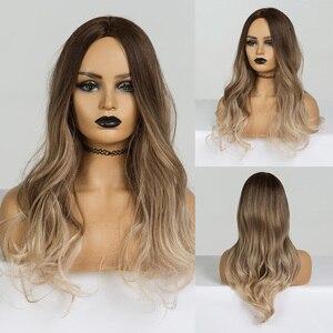 Image 4 - EASIHAIR Medium Braun bis Lila Ombre Haar Synthetische Perücken Für Schwarze Frauen Wellig Perücken Hohe Temperatur Glueless Perücken Cosplay