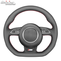 Shining wheat Black Leather Car Steering Wheel Cover for Audi S1 (8X) S3 (8V) Sportback S4 (B8) Avant S5 (8T) S6 S7 RS Q3