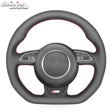 Couvercle de volant de voiture en cuir noir de blé brillant, pour Audi S1 (8X) S3 (8V) Sportback S4 (B8) Avant S5 (8T) S6 S7 RS Q3