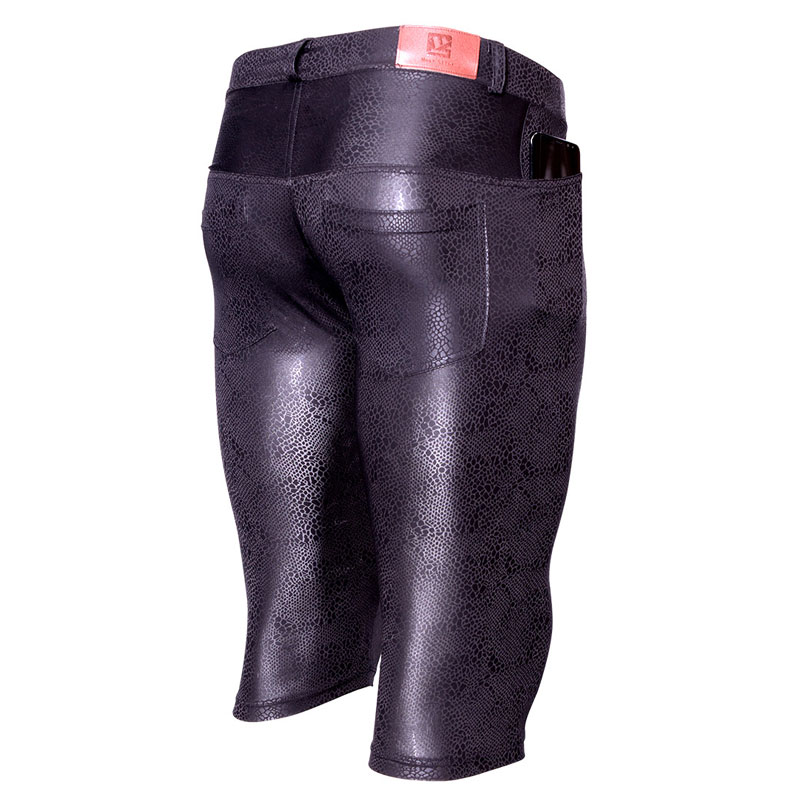 Plus Size Sexy Snake Shiny Capri Thin High Elasticity Pirate Shorts Half Tight Pants For Men U Convex Pouch Knee Length Gay Wear