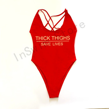 THICK THIGHS SAVE LIVES Swimsuit Plus Size Swimwear Women One Piece Bathing Suit 2021 New High Cut Beach Wear monokini  cupshe 6