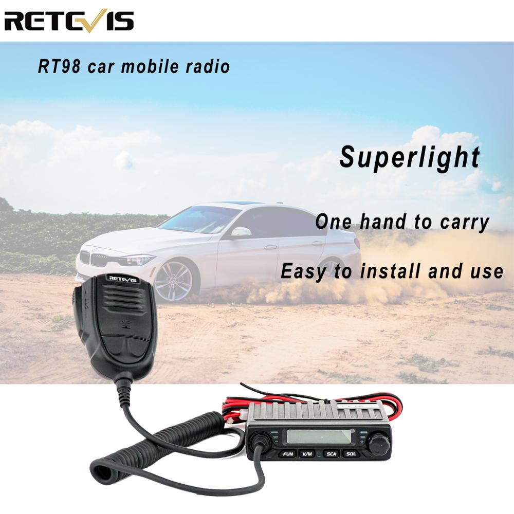 RETEVIS RT98 Mini Mobile Radio VHF ( Or UHF ) 15W 199CH Car Walkie Talkie Ham Radio LCD Display Car Radio Transceiver Long Range