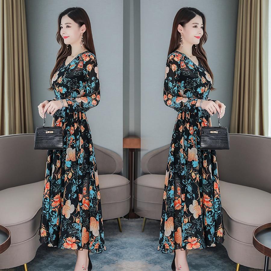 2019 Vintage 3XL Plus Size Floral Chiffon Beach Midi Dresses Autumn Winter Long Sleeve Maxi Dress Women Elegant Party Vestidos 4