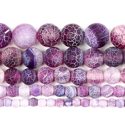 Natural Stone Beads Frosted Purple Weathered Flash Round Loose Beads For Jewelry Making Necklaces & Bracelets Diy Strand 4-12 MM