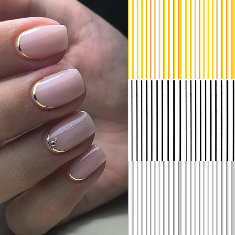 3D Nail Stickers Gold Silver Metal Black Geometric Flower Patterns Adhesive Transfer Decals Nail Art DIY Design Decoration Tools