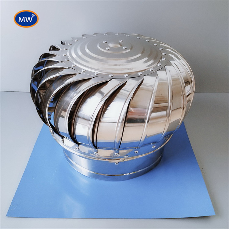 300/400mm Stainless Steel Wind Driven Powerless Roof Turbine Ventilator With Color Steel Plate