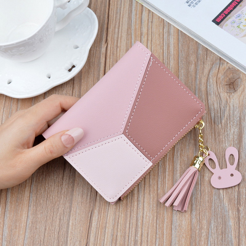 Women Wallets With Zipper Pink Phone Pocket Purse Card Holder Patchwork Women Long Wallet Lady Tassel Short Coin Purse