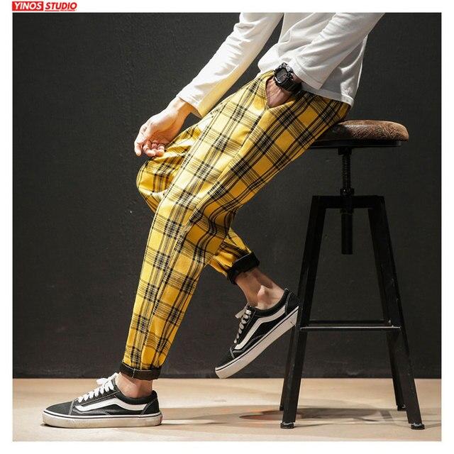Dropshipping Japanese Streerwear Men Plaid Pants 2020 Autumn Fashion Slim Man Casual Trousers Korean Male Harem Pants 12