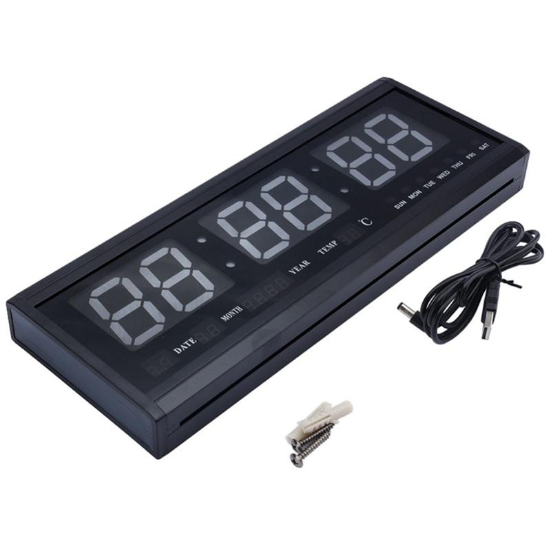 48Cm Digital Wall Clock Big LED Time Calendar Temperature Desk Table Clocks LED Wall Watch EU Plug