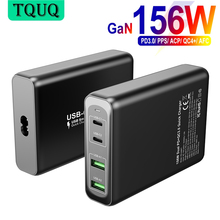 TQUQ 156W GaN Charger USB-C Power Adapter,4-port PD 100W PPS 65W 45W QC4.0 for MacBook iPad iPhone Samsung Huawei Xiaomi Laptop