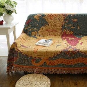Image 4 - World map Bohemian Chenille Plaids Blanket Sofa Decorative Throws on Sofa/Bed large Cobertor Blanket Tassel Knitted blanket