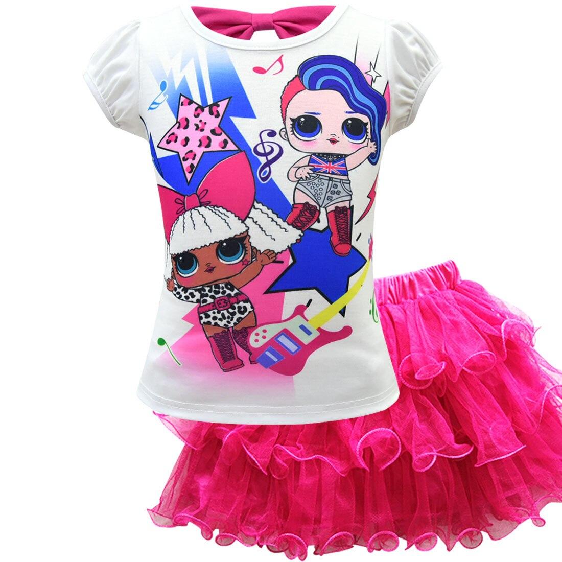 Toddler Girl Clothes 2019 Summer Lol Dress Kids Short Sleeve T-shirt+ Dress For Clothing Set Cartoon Children Vestidos For Girls