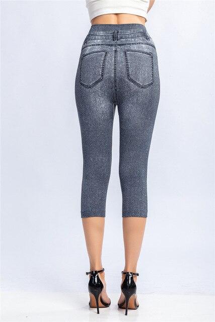 3/4 Leggings Women Breeches Elastic Slim Jeans Leggings High Waist Capri Pants Jeggings Female Short Leggings 4