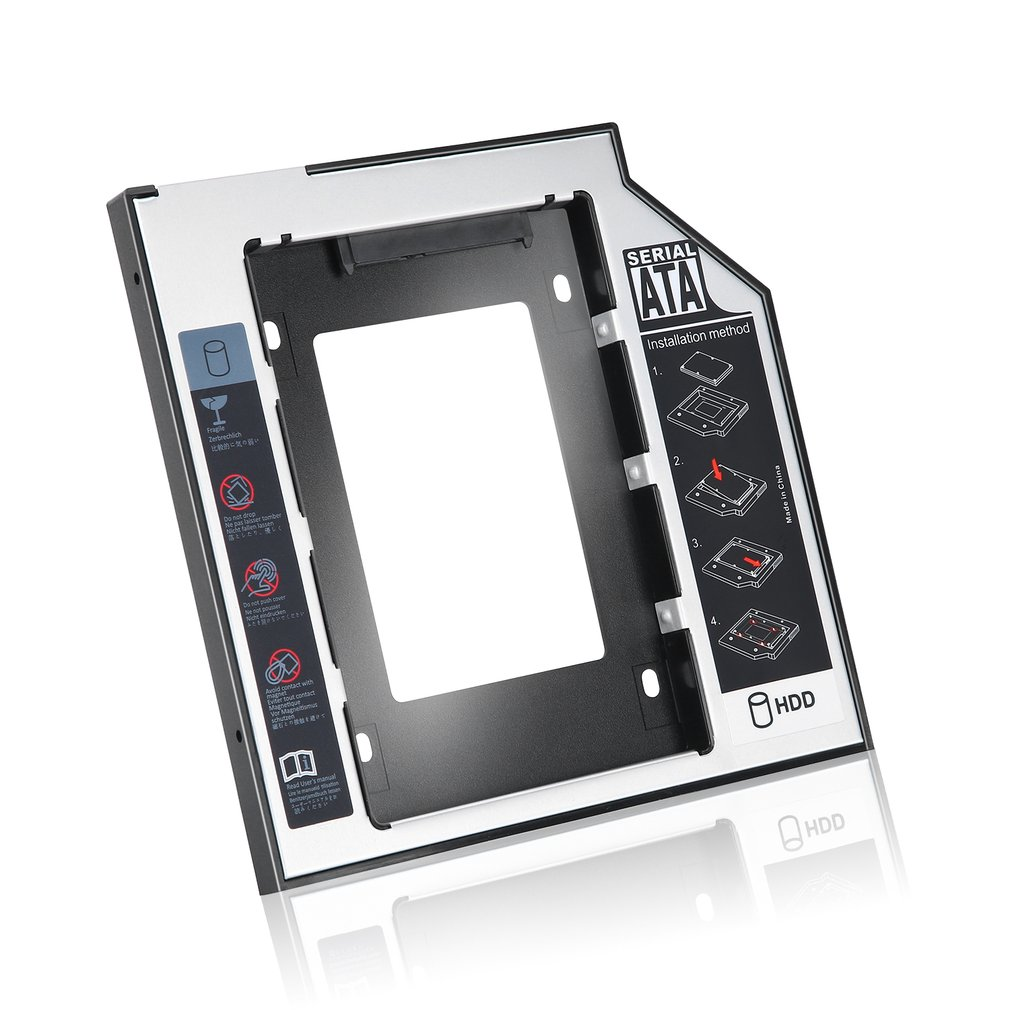 Universal 2.5 2nd 9.5 milímetros Ssd Hd SATA unidade de Disco Rígido HDD Caddy Adaptador Baía Para Cd Rom Dvd Óptico baía Hot New