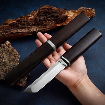 Japanese Katana D2 Steel Small-Scale Mirror Knife,Ebony Handle 58-60HRC Sharp Camping Hunting Knife Fixed Blade Collection Gifts 2