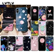 LVTLV black white moon stars space Girl Travel Plane Phone Case for iPhone 11 pro XS MAX 8 7 6 6S Plus X 5 5S SE XR case(China)