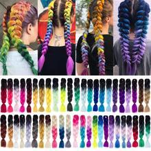 Шелковистые пряди, 24 дюйма, 100 г, Омбре, синтетические плетеные волосы для наращивания, для вязания крючком, косички, огромные косички, два тона, Омбре, цвет