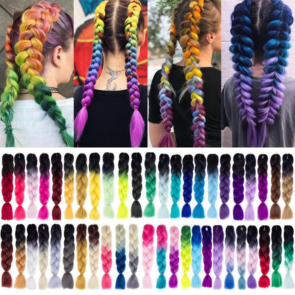 Silky Strands 24'' 100g Ombre Synthetic Braiding Hair Extensions For Crochet Braids Jumbo Braids Two Tone Ombre Color