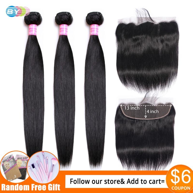 Straight Hair 3 Bundles With Frontal Human Hair Bundles With 13x4 Frontal Closure BY Brazilian Hair Innrech Market.com