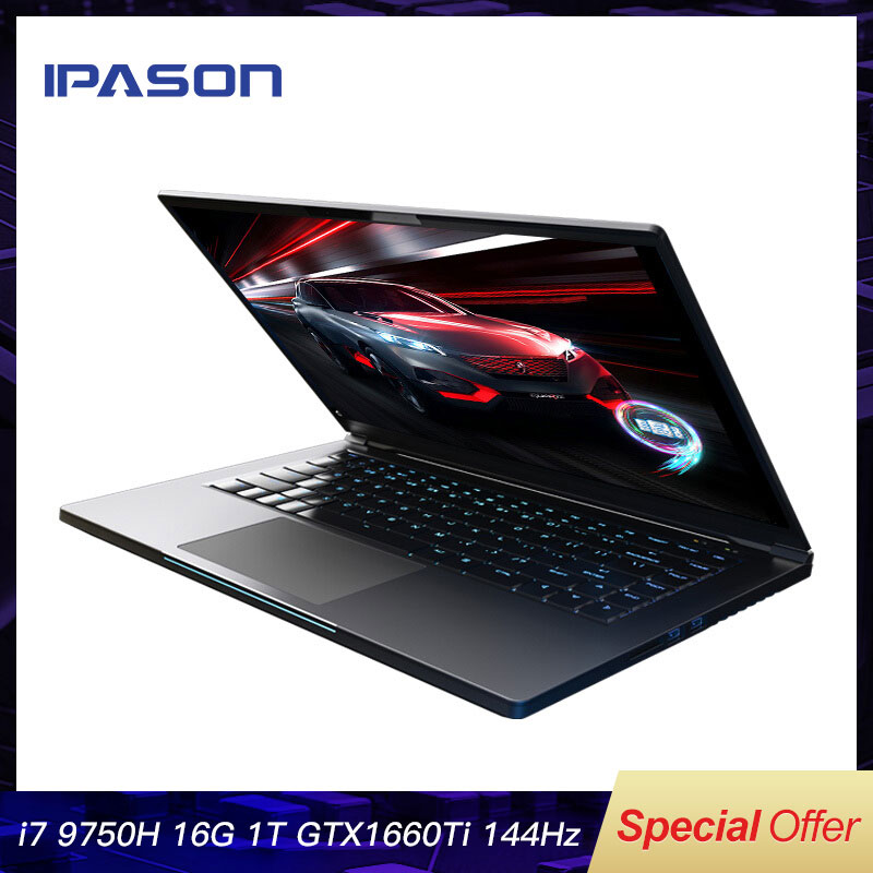 IPASON Ganing Computer 15 6 inch Intel Core i7 Ultra-thin Gaming Gaming Laptop i7 9750H 16G RAM 1T SSD GTX1660Ti 144Hz High-Rate