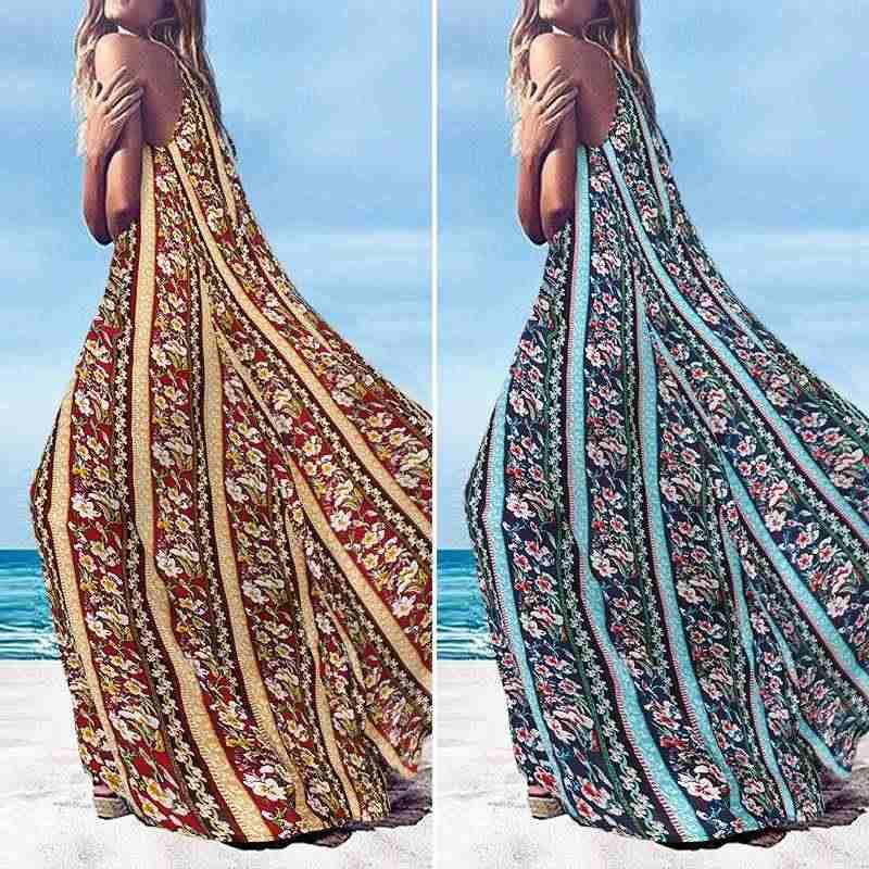 女性フローラルプリントロングマキシドレスビーチパーティー vestidos zanzea 2020 夏ボヘミアンドレスプラスサイズカフタンローブファムサンドレス