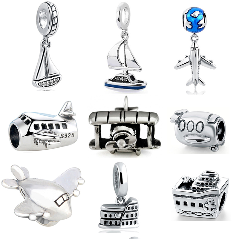 StrollGirl diy design little boat and plane 925 sterling silver charms beads fit authentic European bracelet pendant jewelry new